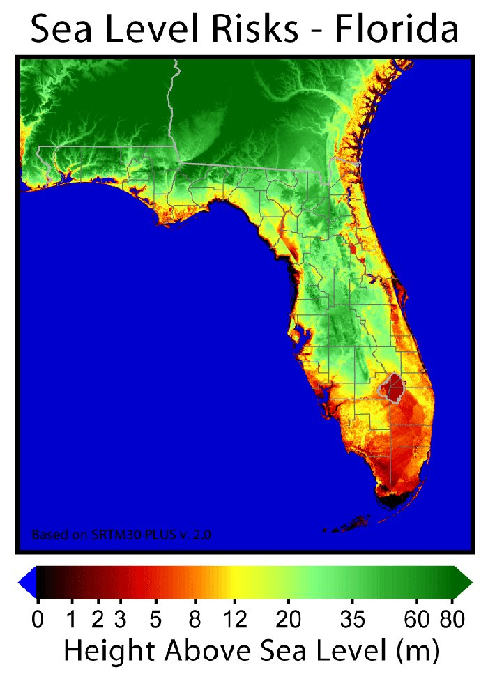 Sea Floor Elevation Map : Highest point above sea level in florida autos post